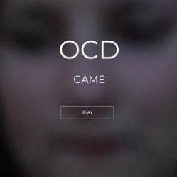 L'écran d'accueil du webdoc de Monika : un visage flouté avec le titre OCD game
